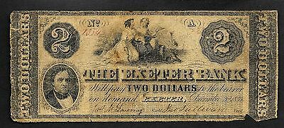 Exeter New Hampshire The Exeter Bank 1855 $2 Banknote