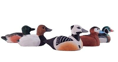 Miniature Assorted Duck Decoy Wooden Carved Bird Ornament Hand Painted Flock Lot