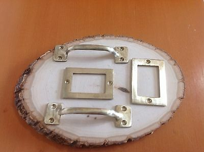 146 VTG Cabinet Brass Pulls & Label Holders Set Of 4, 2 Of Each