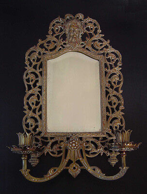Antique B&h Bradly Hubbard 3504 3509 Bronzed 2-Arm Candle Sconce Mirror Bacchus