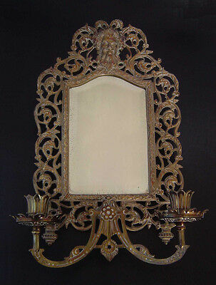 Antique Bradly Hubbard Bronzed Candle Sconce Mirror Bacchus Wine Fertility God