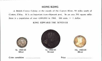 1902-1905 Hongkong 3 Coin Set - 1C, 5C & 10C Original Package 1902-1905年香港钱币套装