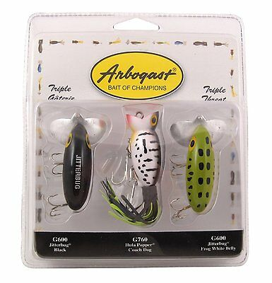 Arbogast Triple Threat Pack - 2 x Jitterbugs, 1 x Hula Popper - Bass Cod Lures