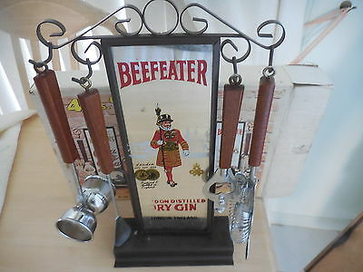 Vintage Beefeater 4 Piece Bar Set On Mirrored Stand With Original Box