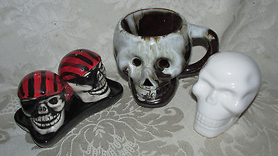 Skull Mug Salt & Pepper Pirates Shakers White Head Bust Fantasy Gothic Halloween