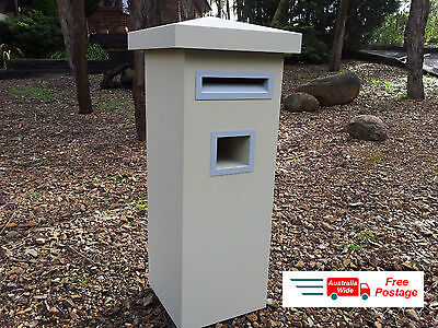 Cream Letterbox Mail Box Mailbox Post Powdercoated Evening Haze Pier Sandstone