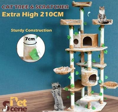 2.1M All In One Multi-Level Cat Scratching Post Climbing Tree-Extra Large-Beige