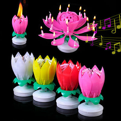 Romantic Rotating Musical Lotus Flower Happy Birthday Candle Double Lights Party