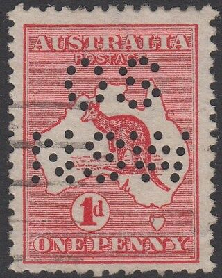 OSNSW perfin kangaroo 1d red die II Australia official OS NSW usage roo stamp