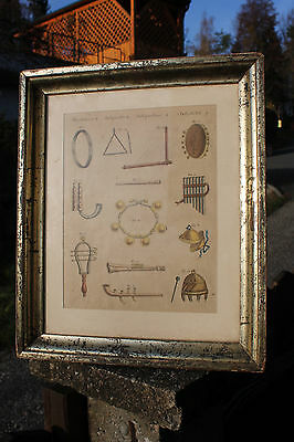 Antique engraving, handcolored-PIPES & PERCUSSION INSTRUMENTS-gilded frame-c1780