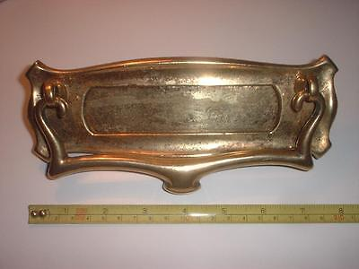 A ART NOUVEAU ORIGINAL 1920s BRASS LETTER BOX WITH RAPPER AND NEW SPRING/SPINDLE