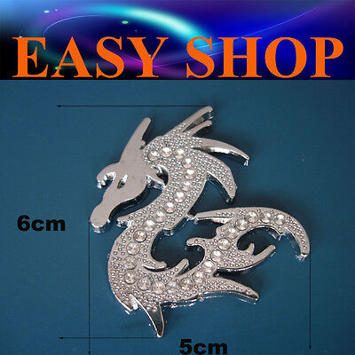 3D Diamante Metal Dragon Sticker Decal Car Quad Bike Caravan Ute Badge Emblem