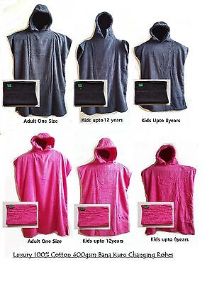 Changing Robe Adult & Kids Hooded Poncho Towelings Surfing/Swimming + Free Towel