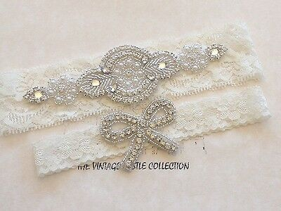 Ivory Crystal Bow Bridal Wedding Garter Set Lace Flower White Accessories