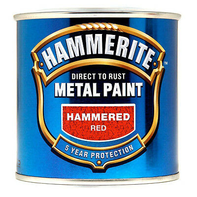 Hammerite Direct to Rust Hammered Finish Metal Red Paint 250ml