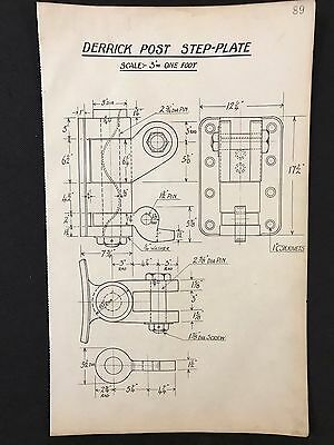 Harland & Wolff, Belfast -1930's Eng. Drawing DERRICK POST STEP-PLATE  (P89)