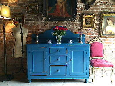 Fabulous Antique Dresser Sideboard Credenza Blue Painted Victorian 19th Century