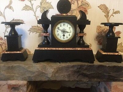 Lovely Large Elegant French Paris Art Deco Marble Mantle Clock (Ref T8/162)