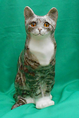 Lifesize Winstanley pottery Silver Grey & White Tabby Cat with Glass eyes Size 7