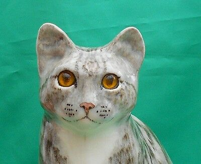 Lifesize Winstanley pottery Silver Grey & White Tabby Cat with Glass eyes Size 6