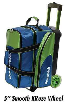 Brunswick Flash C 2 Ball Roller Bowling Bag with Urethane Wheels Navy/Lime