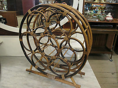 Vintage Cane Wicker Wine Rack Holder Stand Holds 7 Bottles Unusual