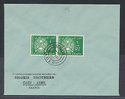 South Arabia 20f Coat of Arms pair on 1965 cover Shaikh Brothers corner card FDC