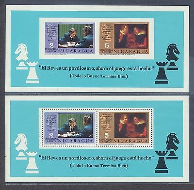 Nicaragua 1972 Chess Fisher vs Spassky perf + imperf souvenir sheet NH