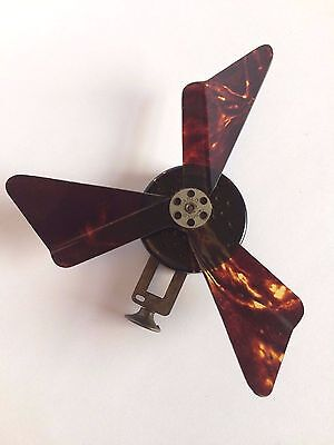 Rare VINTAGE Carlo Tortoiseshell Celluloid Mechanical Hand Fan Mirror