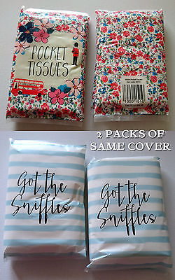 2 pks 12 POCKET TISSUES WALLETS Got the Sniffles I LOVE LONDON Ditsy Floral 3ply