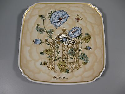 Hutschenreuther Winther Plate 1983 Blue Flowers Butterfly