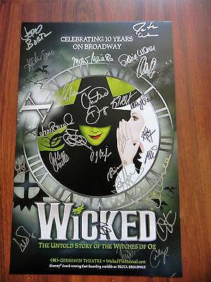 Wicked Christine Dwyer & Cast Signed 14 x 22 10th Anniv. Broadway Poster-Mint
