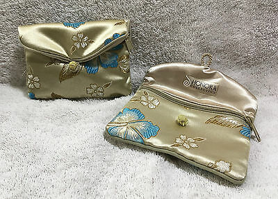 Lot of 2 Honora Collection Satin Floral Jewelry Coin Money Pouch Bags