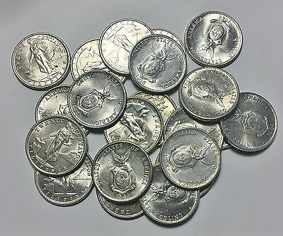 1944 -1945 PHILIPPINES SILVER 20 CENTAVO AU to UNC COINS OF WWII
