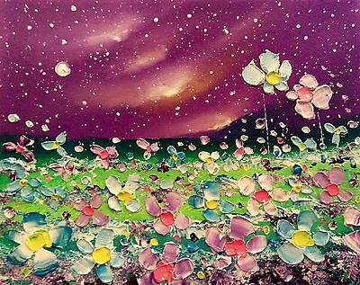 Night meadow flower garden, original floral oil painting on canvas, Phil Broad