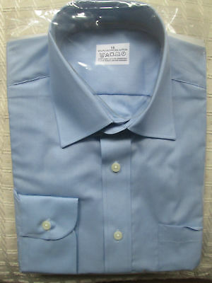 Ex-Chainstore Mens Shirt Mid Blue Long Sleeves Polycotton Size 15 collar New