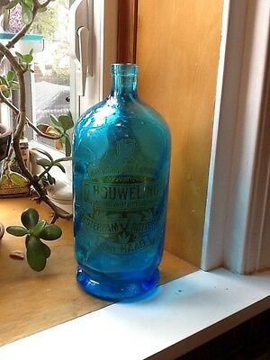 """""""VERY RARE"""" Vintage Blue Mineral  Seltzer Water Bottle German Twisted Glass"""