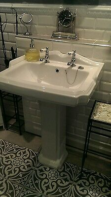 Traditional victorian sink wash basin two tap holes white