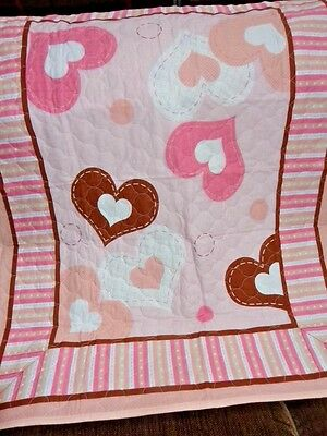 """Pink Heart Baby Crib/lap Quilt/wall Hanging Panel Machine Quilted 34 X 44""""l New"""