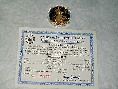 2004 EDITION of the 1933 $20 DOUBLE EAGLE 24K GOLD-PLATED with COA #123873