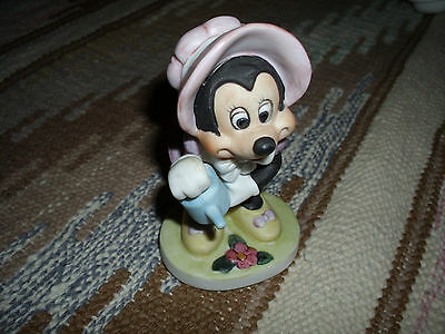 Cute Minnie Mouse in Pink Bonnet Watering the Flowers Figurine