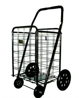 Folding Shopping Cart Grocery Basket Wheels Laundry Rolling Travel Heavy Duty