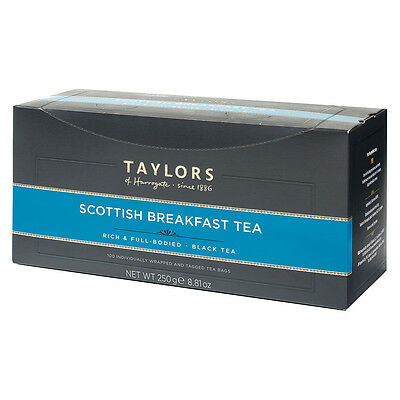 Taylors of Harrogate Scottish Breakfast Tea Bags - 100 Wrapped & Tagged Bags