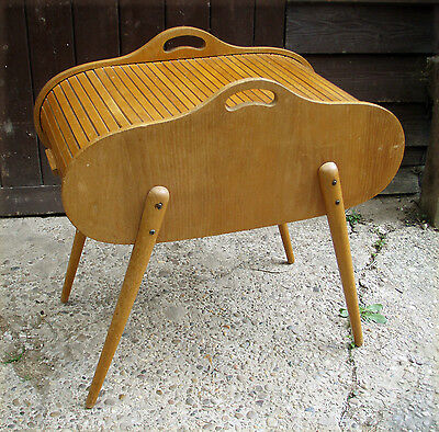 Vintage Mid-century Tambour Roll-top Sewing Box Ercol style Atomic legs Danish