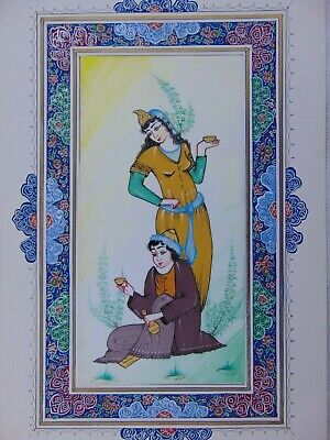 Persian Vintage Hand Made Painted Miniature Painting Eastern Islamic Fine Art