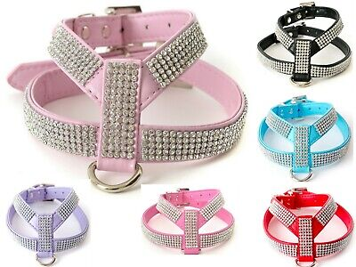 Rhinestone Diamante Dog Harness black pink blue red puppy cat xs small breeds