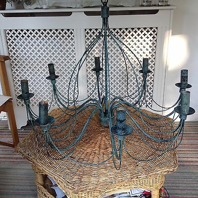 Large Rustic French Country 8 Arm Chandelier