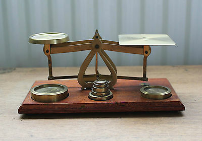 Postal Scales : Brass & Wood with 7 brass weights : Made in England