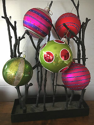 """Set of 5 Whimsical Ball Ornaments with sparkling accents- 2½"""" - 3"""" dia"""