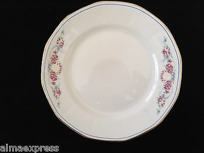 "American Limoges China Gold Band Rim, Blue Line Floral & Swags 9"" LUNCHEON PLATE"